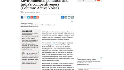 Environmental pollution and India's competitiveness
