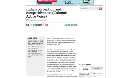 India's corruption and competitiveness