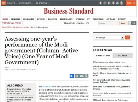 Assessing one-year's performance of the Modi government