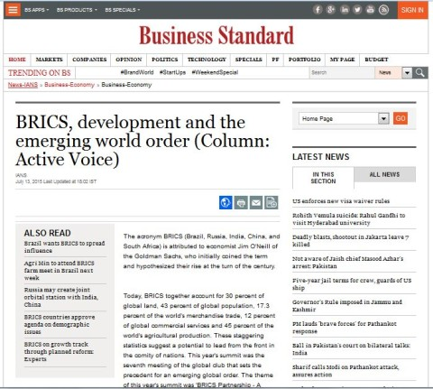 BRICS, development and the emerging world order