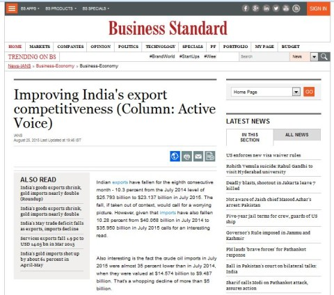 Improving India's export competitiveness