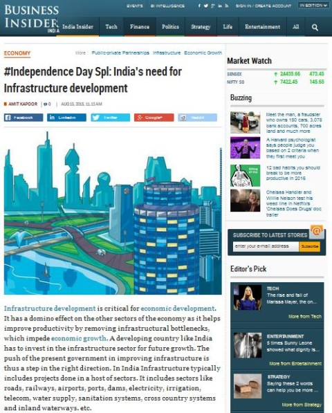 India's need for Infrastructure development