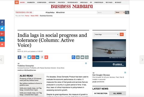 India lags in social progress and tolerance