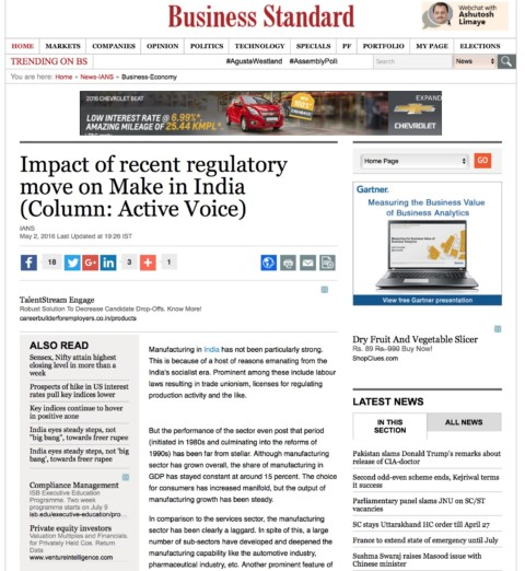 Impact of recent regulatory move on Make in India