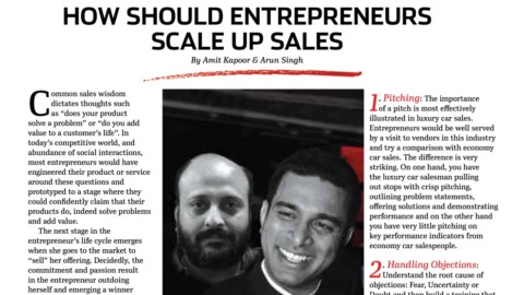 How should Entrepreneurs scale up sales