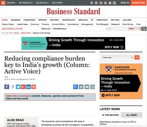 Reducing compliance burden key to India's growth