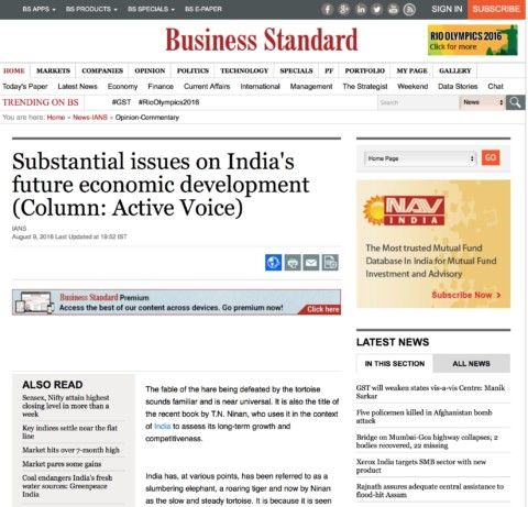 Substantial issues on India's future economic development