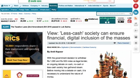 'Less-cash' society can ensure financial, digital inclusion of the masses