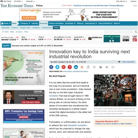 Innovation key to India surviving next industrial revolution