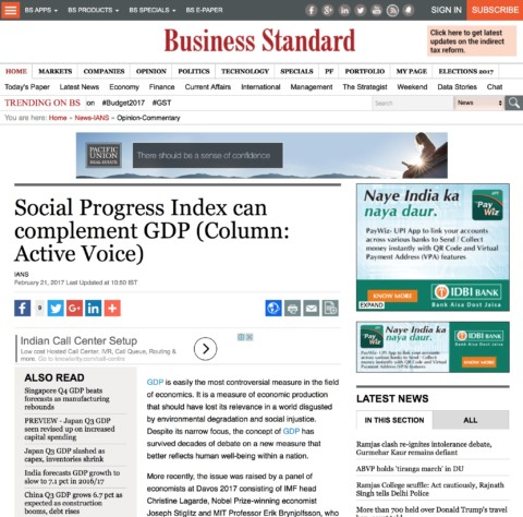 Social Progress Index can complement GDP