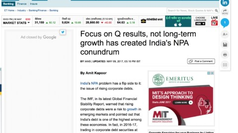 Focus on Q results, not long-term growth has created India's NPA conundrum