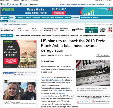 US plans to roll back the 2010 Dodd Frank Act, a fatal move towards deregulation