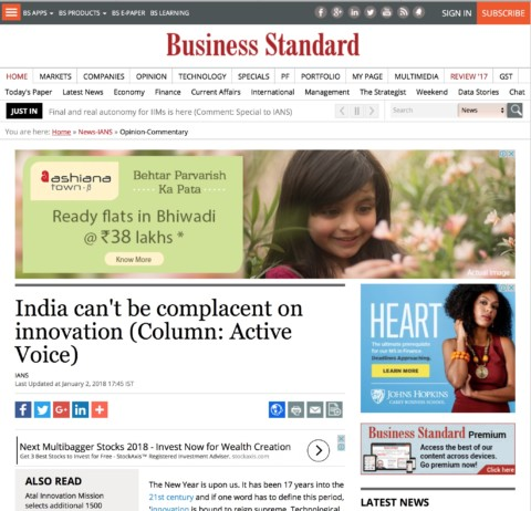 India can't be complacent on innovation