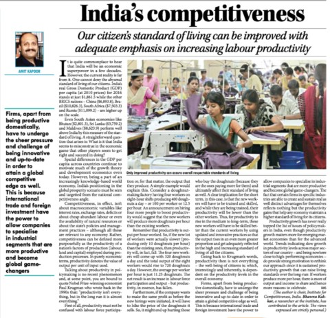 India's Competitiveness: Where do we stand?