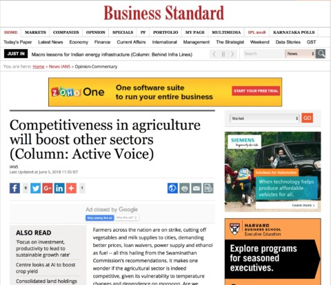 Agriculture and Allied Activities – Pushing Competitiveness