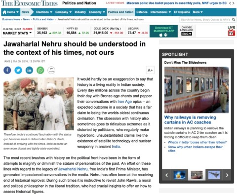 Jawaharlal Nehru should be understood in the context of his times, not ours