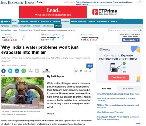 Economic remedies for water crisis
