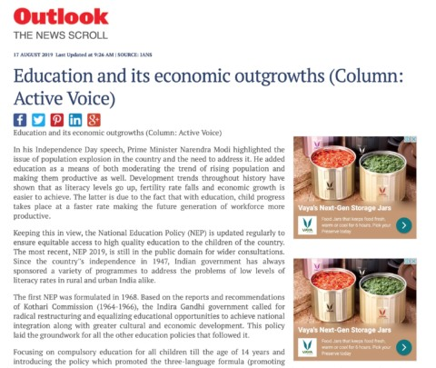 Education and its economic outgrowths