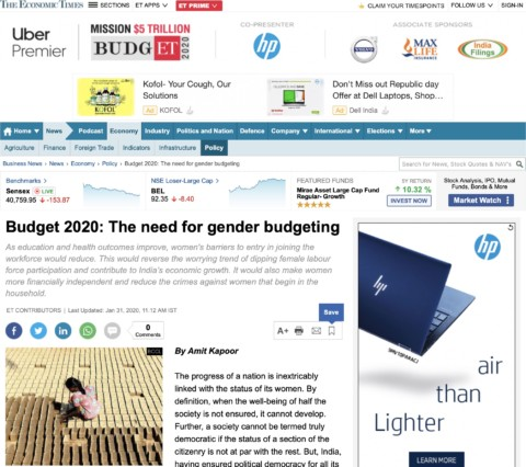 Budget 2020: The Need for Gender Budgeting